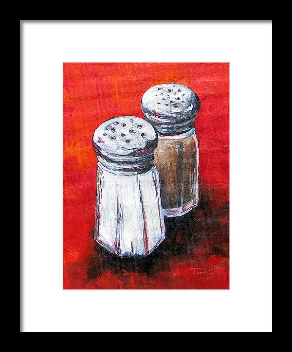 Red Framed Print featuring the painting Salt And Pepper On Red by Torrie Smiley