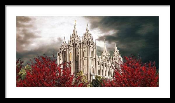 Salt Lake Framed Print featuring the painting Salt Lake Temple - A Light in the Storm by Brent Borup
