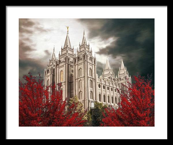 Salt Lake Framed Print featuring the painting Salt Lake Temple - A Light in the Storm - cropped by Brent Borup