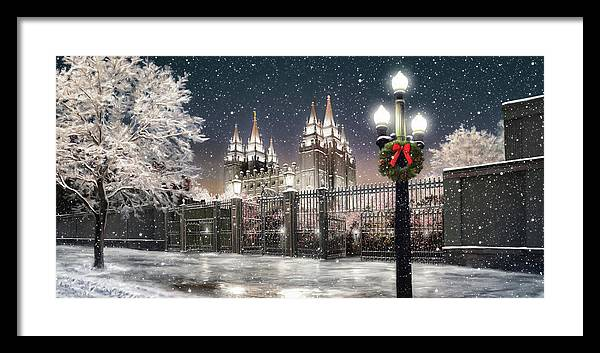 Salt Lake Framed Print featuring the painting Salt Lake Temple Christmas Lights by Brent Borup