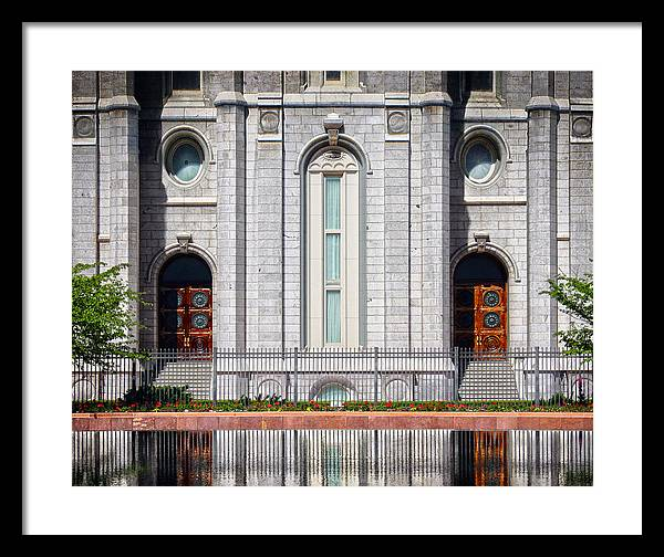 Salt Lake Framed Print featuring the painting Salt Lake Temple Reflections by Brent Borup