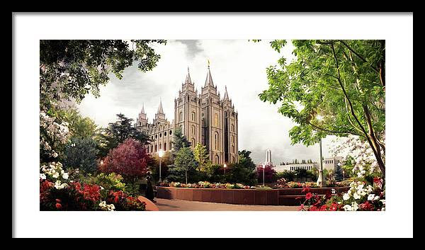 Salt Lake Framed Print featuring the painting Salt Lake Temple - Summer by Brent Borup