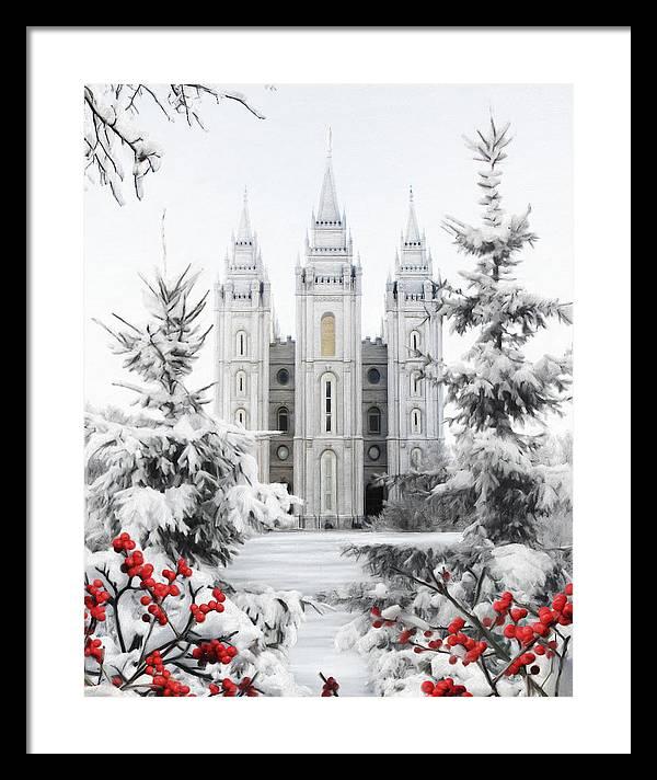 Salt Lake Framed Print featuring the painting Salt Lake Temple - Winter Wonderland by Brent Borup