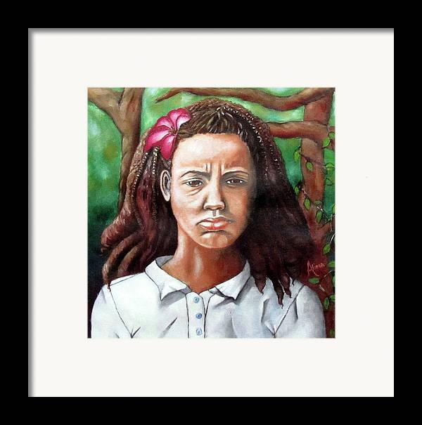 Portrait Framed Print featuring the painting Salty Girl by Alima Newton