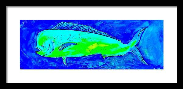Dolphin Framed Print featuring the painting Salty Mahi by Barry Knauff