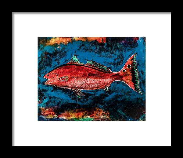 Redfish Framed Print featuring the painting Salty Redfish by Barry Knauff