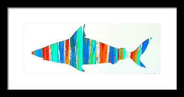 Salty Shark Framed Print featuring the digital art Salty Shark by Barry Knauff