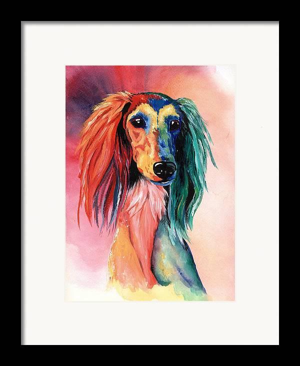 Saluki Framed Print featuring the painting Saluki Sunset by Kathleen Sepulveda