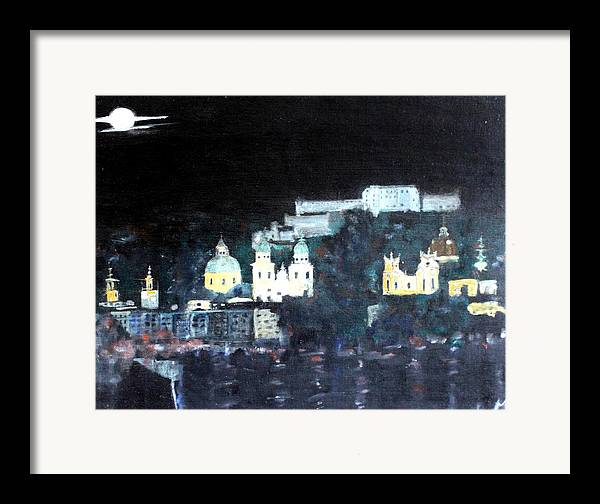 City Framed Print featuring the painting Salzburg In Moonlight by Michela Akers