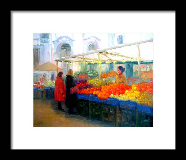 Market Framed Print featuring the painting Salzburg Shoppers by Bunny Oliver