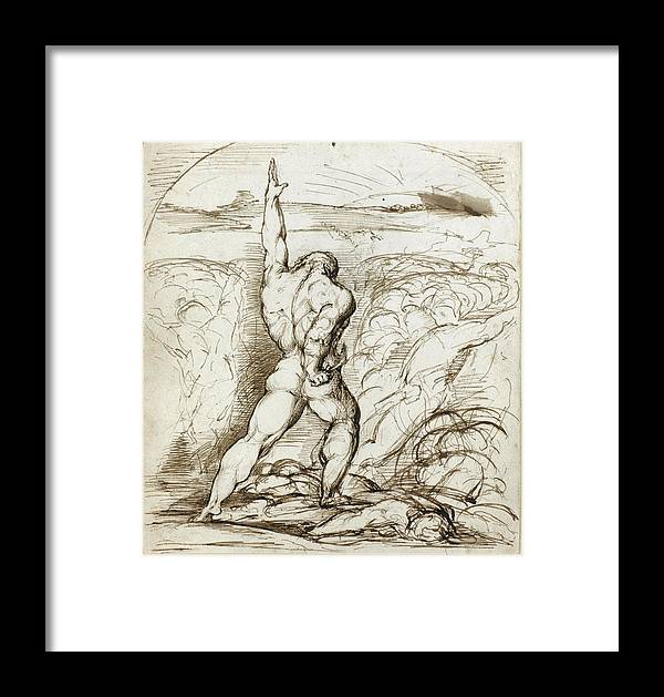 George Richmond Framed Print featuring the drawing Samson Slaying The Philistines With The Jawbone Of An Ass by George Richmond