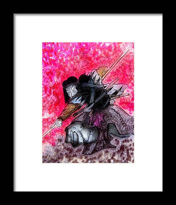 Painting Framed Print featuring the painting Samurai by Jeff DOttavio