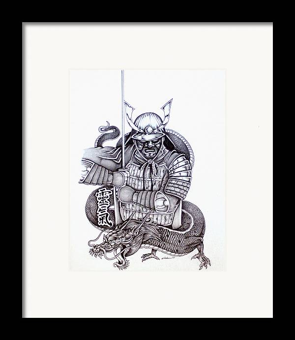 Pencil Framed Print featuring the drawing Samurai Tattoo Design 1 by Kyle Adamache