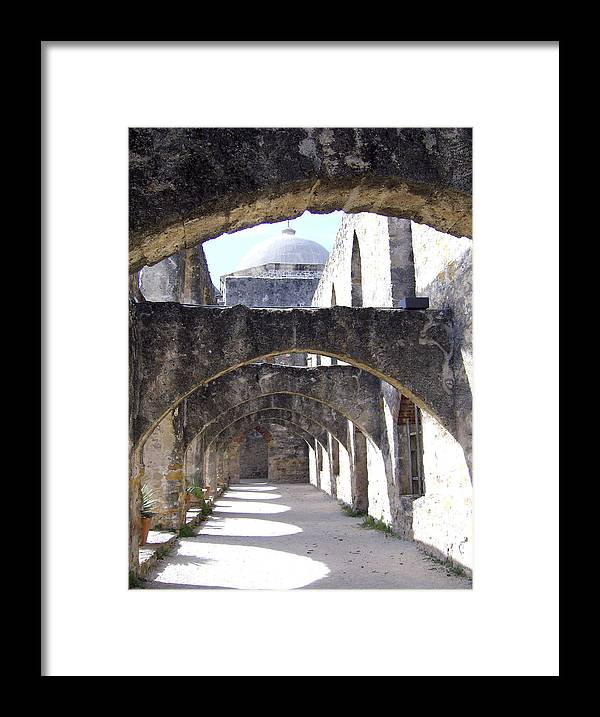 Missions Framed Print featuring the pyrography San Antoniio Spanish Mission by Myrna Salaun