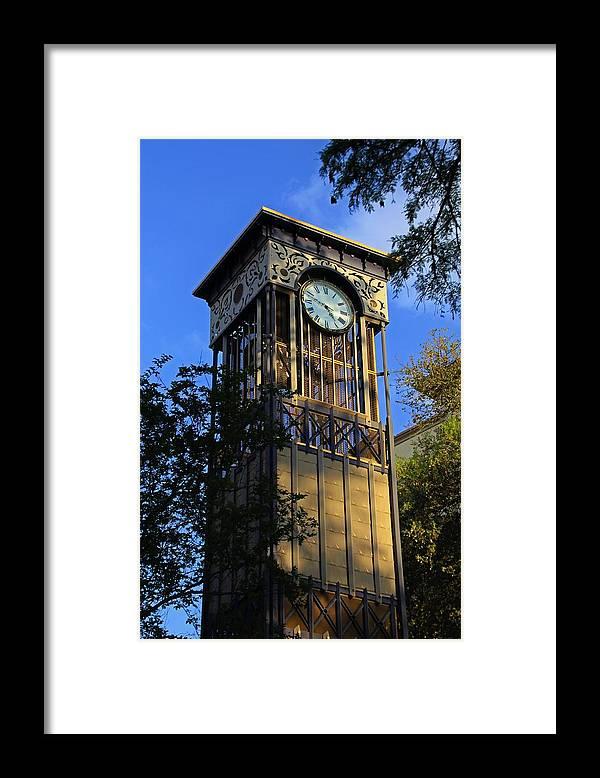 San Antonio Framed Print featuring the photograph San Antonio Clock by Michiale Schneider