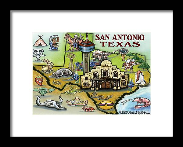 San Antonio Framed Print featuring the digital art San Antonio Texas by Kevin Middleton