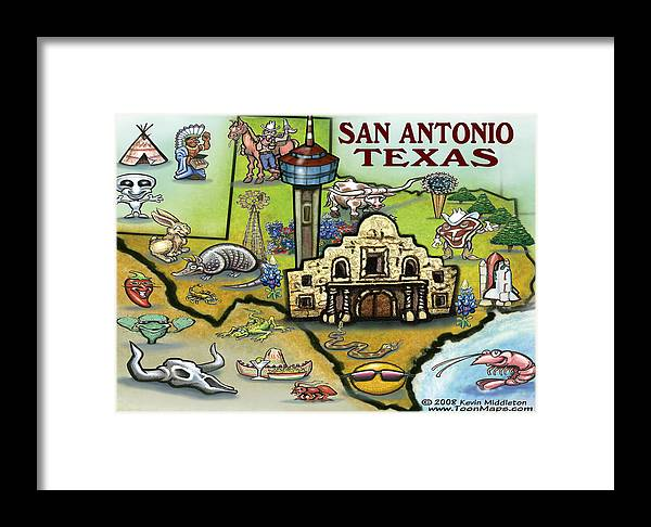 San Antonio Framed Print featuring the digital art San Antonio Texas by Kevin Middleton