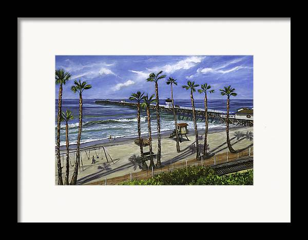 Pier Framed Print featuring the painting San Clemente Pier by Lisa Reinhardt