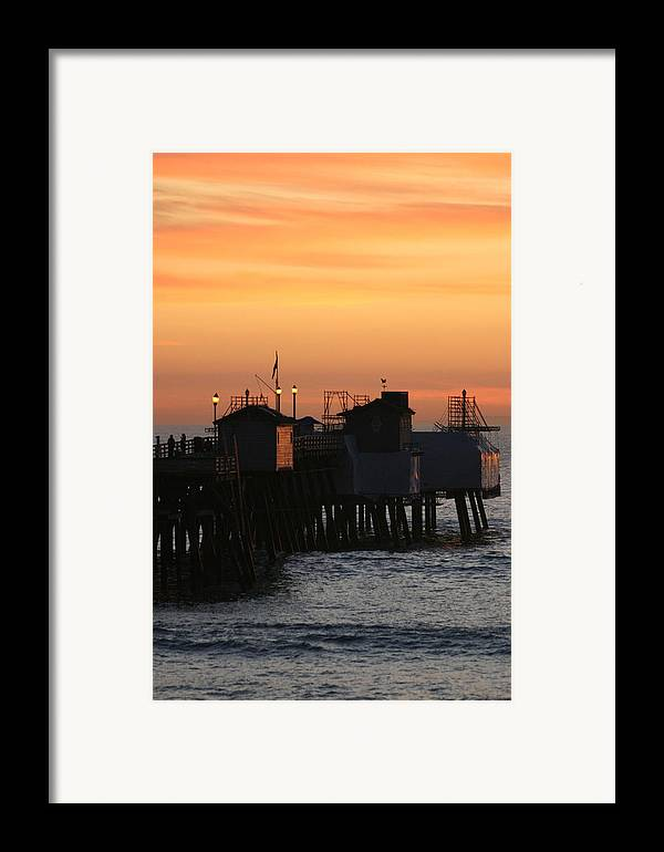 Sunset Framed Print featuring the photograph San Clemente Pier Sunset by Brad Scott