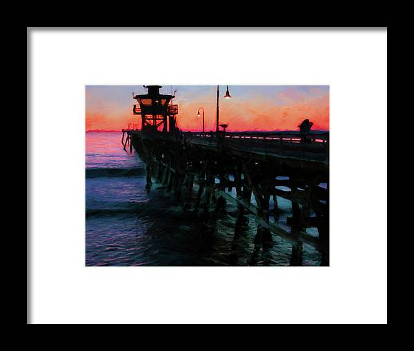 San Clemente Framed Print featuring the digital art San Clemente Pier Sunset by Steve Brown
