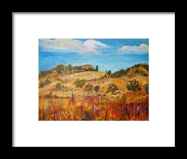 Landscape Framed Print featuring the painting San Diego Backcountry by Carolyn Curtice