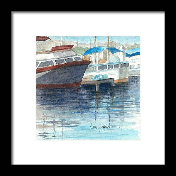 Watercolor Framed Print featuring the painting San Diego Mission Bay by Nancy Halpin