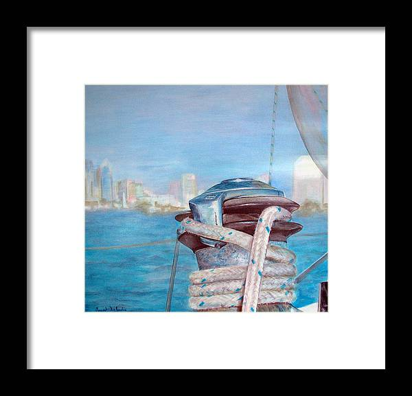 Landscape Framed Print featuring the painting San Diego by Muriel Dolemieux