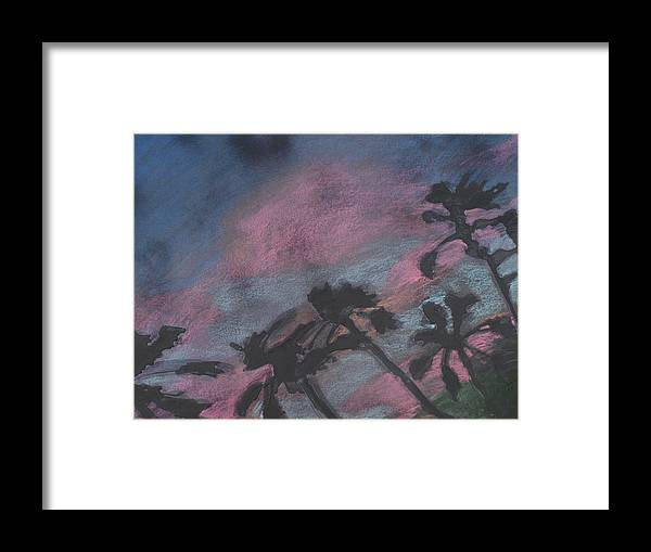 Contemporary Tree Landscapes Framed Print featuring the drawing San Diego palms by Leah Tomaino