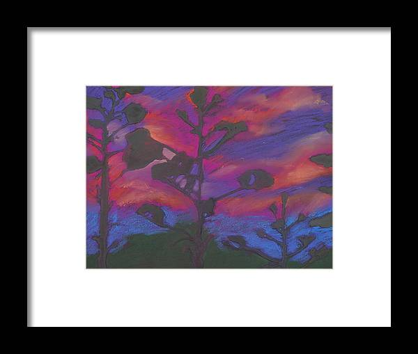 Contemporary Tree Landscape Framed Print featuring the mixed media San Diego Sunset by Leah Tomaino