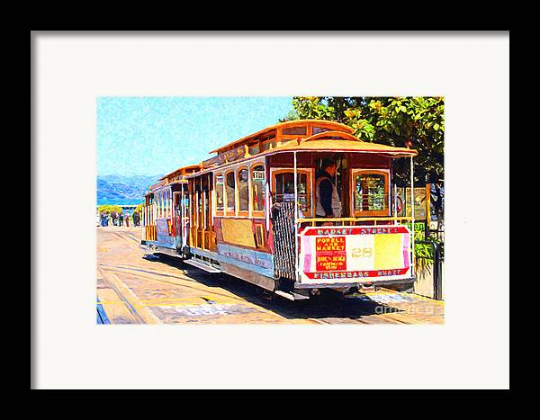 San Francisco Framed Print featuring the photograph San Francisco Cablecar At Fishermans Wharf . 7d14097 by Wingsdomain Art and Photography