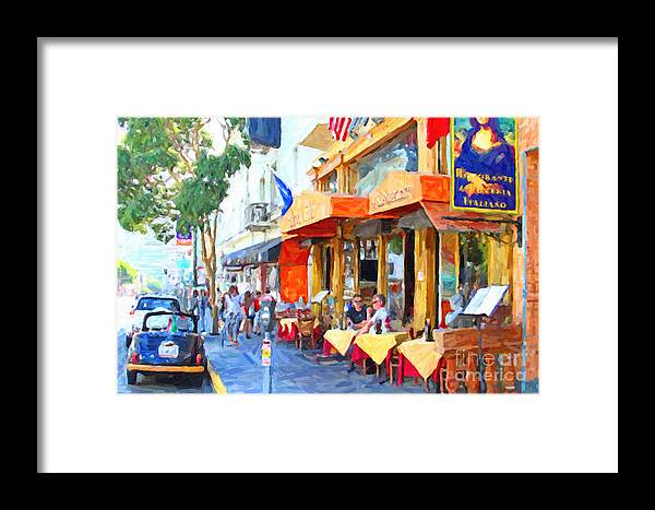 Wingsdomain Framed Print featuring the photograph San Francisco North Beach Outdoor Dining by Wingsdomain Art and Photography