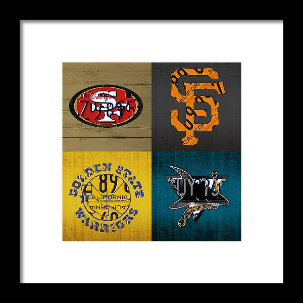 San Francisco Sports Fan Recycled Vintage California License Plate Art  49ers Giants Warriors Sharks Framed Print