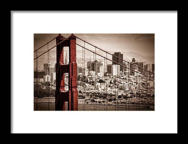 Golden Gate Framed Print featuring the photograph San Francisco through the Bridge by Matt Trimble