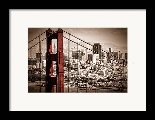 Golden Gate Framed Print featuring the photograph San Francisco Through The Bridge by Matt Trimble