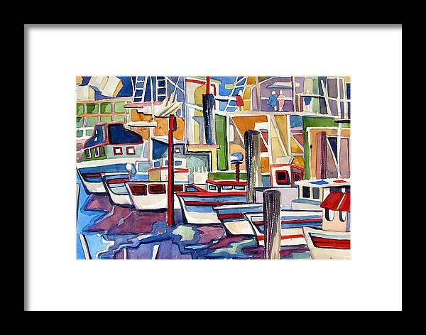 Marina Framed Print featuring the painting San Fransico Marina by Mindy Newman