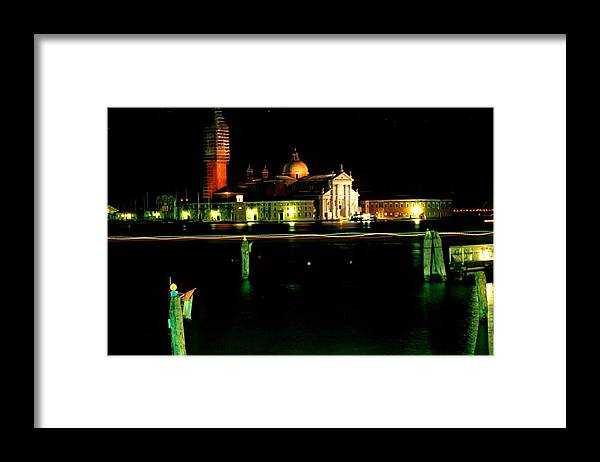 Venice Framed Print featuring the photograph San Georgio Maggiore in Venice at Night by Michael Henderson