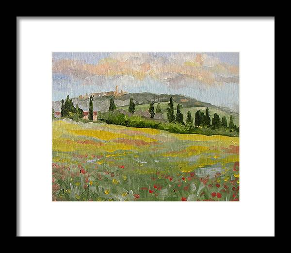 Framed Print featuring the painting San Gimignano by Jay Johnson