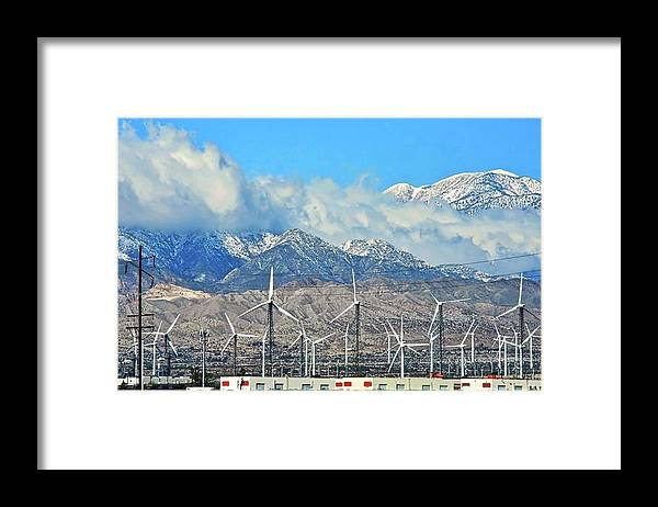 San Gorgonio Framed Print featuring the photograph San Gorgonio and Windmills in Palm Springs by Kirsten Giving
