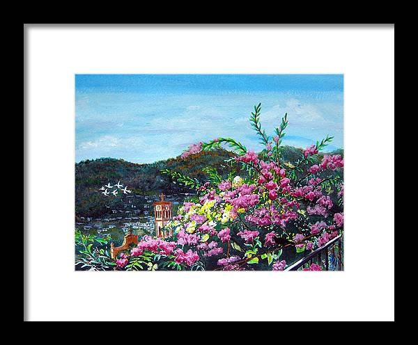 Landscape Framed Print featuring the painting San Jose Church Matagalpa by Sarah Hornsby