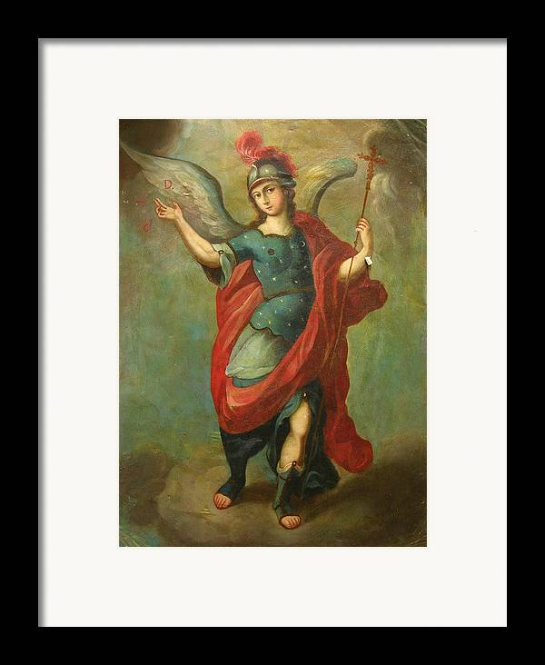 Religion Framed Print featuring the painting San Miguel Arcangel by Unknown