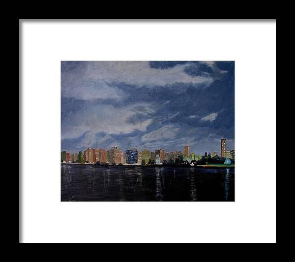 San Wan Framed Print featuring the painting San Wan at Night by Stan Hamilton