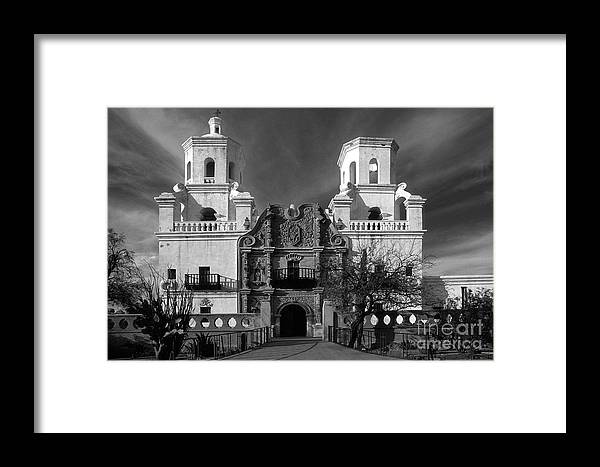 B&w Framed Print featuring the photograph San Xavier Del Bac Mission by Sandra Bronstein