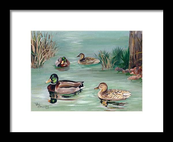 Ducks Framed Print featuring the painting Sanctuary For Ducks by Val Stokes