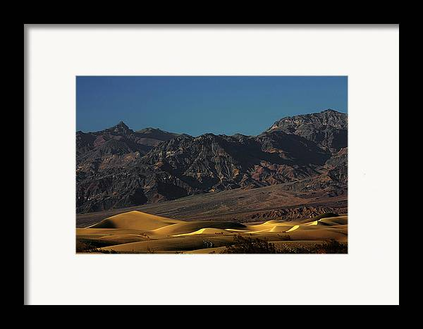 Eath Valley National Park Framed Print featuring the photograph Sand Dunes - Death Valley's Gold by Christine Till