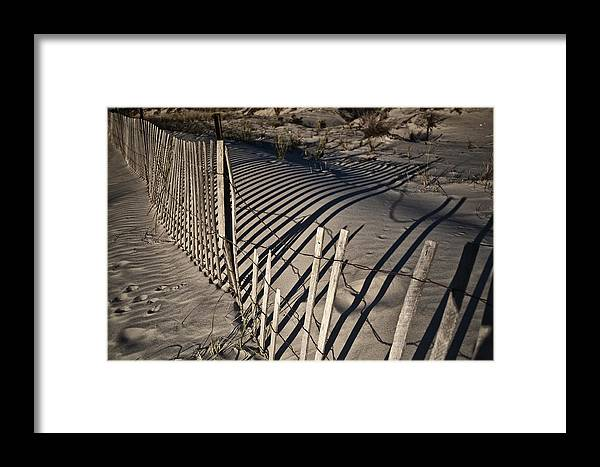Sand Framed Print featuring the photograph Sand Fence by Joel P Black