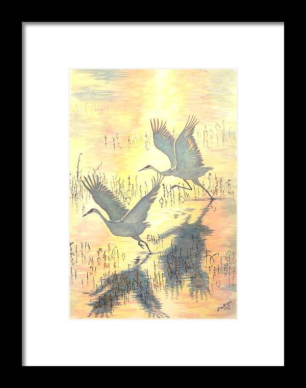 Cranes Taking Flight Framed Print featuring the painting Sandhill Cranes by Dan Bozich