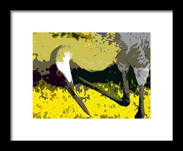 Sand Hill Crane Framed Print featuring the painting Sandhill Scratching by David Lee Thompson