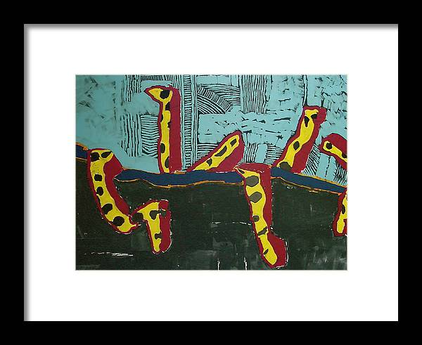 Southwest Framed Print featuring the painting Sandia Cottonwood The Mantid by Ray Petersen