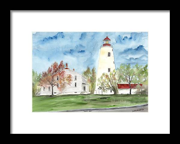 Watercolor Framed Print featuring the painting Sandy Hook Lighthouse by Derek Mccrea