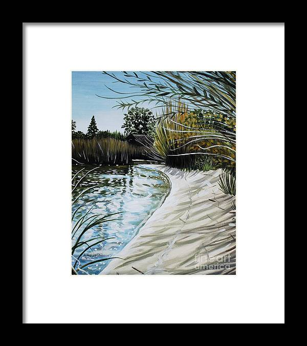 Landscape Framed Print featuring the painting Sandy Reeds by Elizabeth Robinette Tyndall